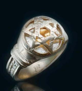 Five Metal Ring with Gold Star of David