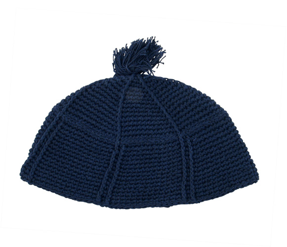 Navy blue Frik Kippah with tassel