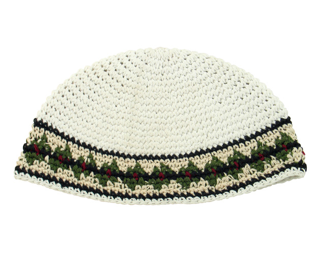 White Frik Kippah with beige and olive border
