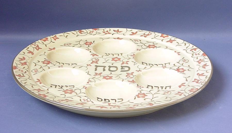 Pink Flower design Ceramic Passover Seder Plate