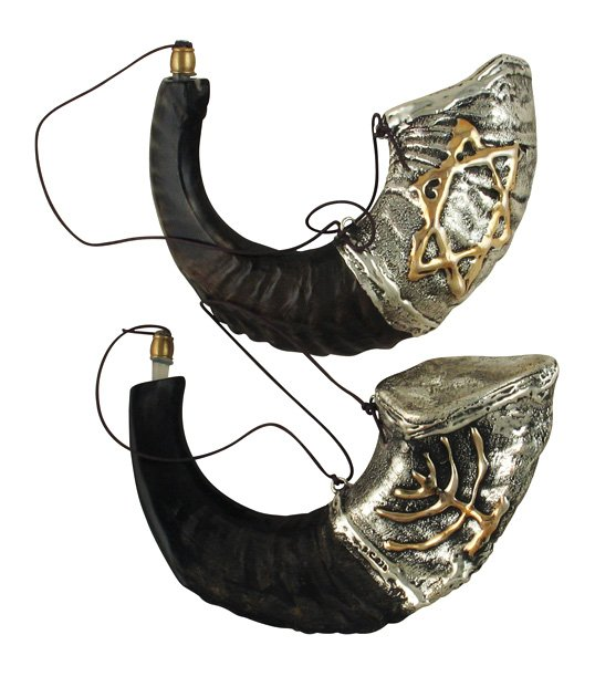 Anointing Sterling Silver Plated Rams Horn Shofars