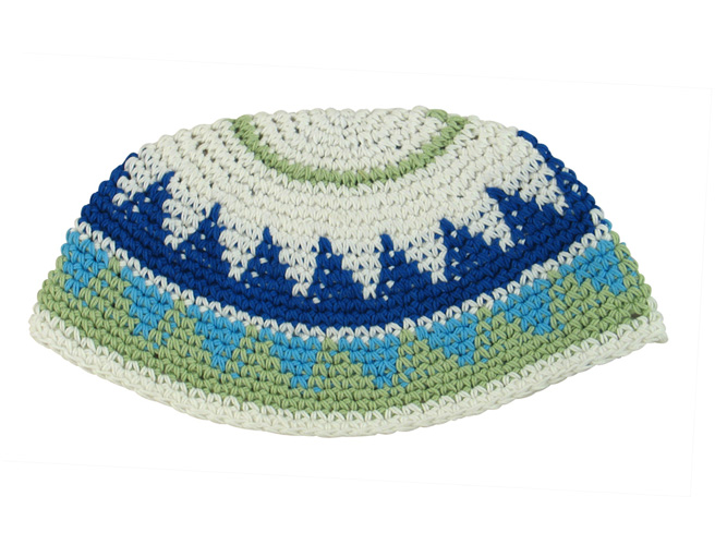 White, blue and green Frik Kippah