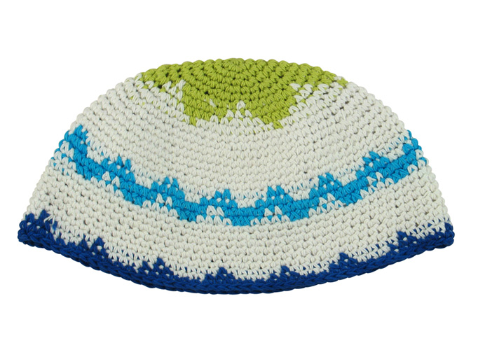 White Frik Kippah with blue and green design