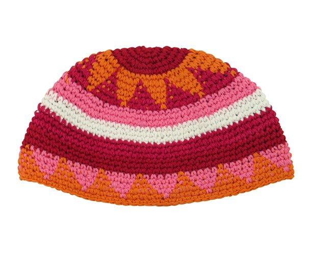 Pink, orange and maroon Frik Kippah