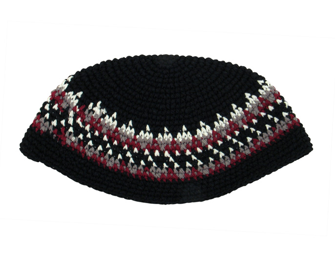 Black, white and maroon Frik Kippah