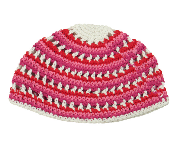 Red, pink and white Frik Kippah