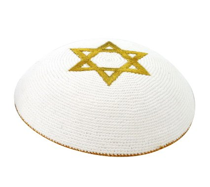 Gold Star of David Knit Kippot