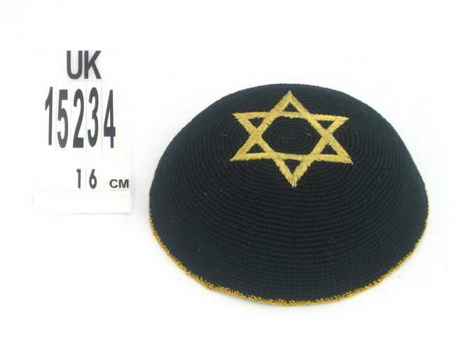 Black Knit Kippot with Gold Magen David