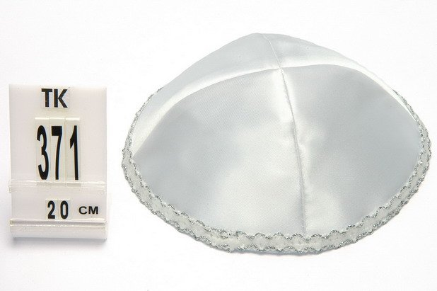 White Satin Kippah with silver strip