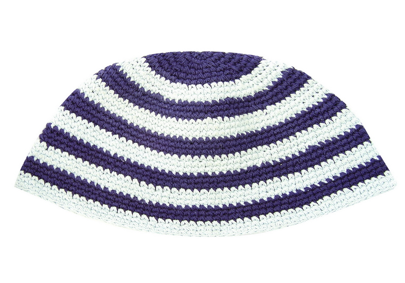 Blue and white striped Frik Kippah