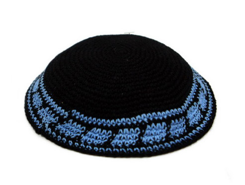 Black Knit Kippot with blue border