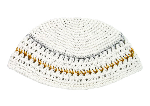 White Frik Kippah with gold and silver border