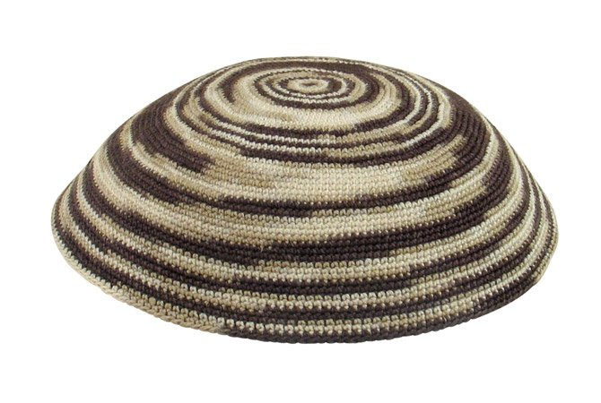 Olive green and beige DMC Knit Kippot