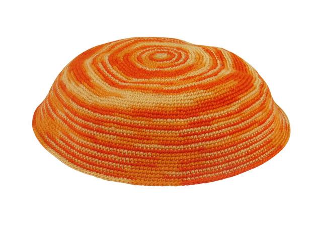 Fiery orange and yellow DMC Knit Kippot