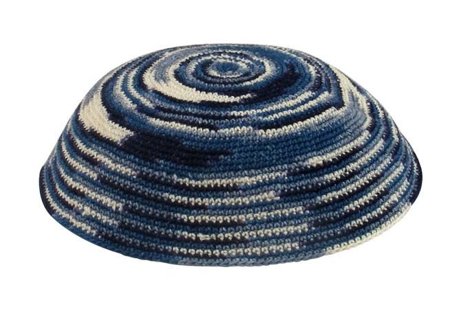 Blue and white DMC Knit Kippot