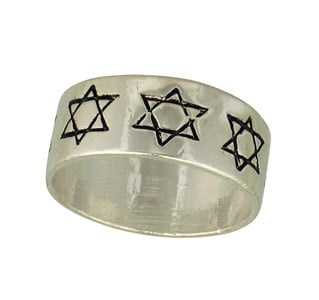 Star of David Silver Stainless Steel Ring
