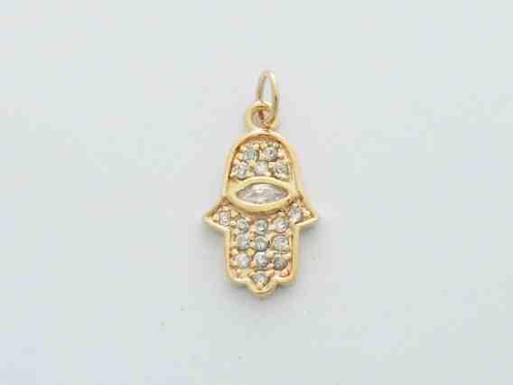 Gold Zirconium Hamsa Pendant