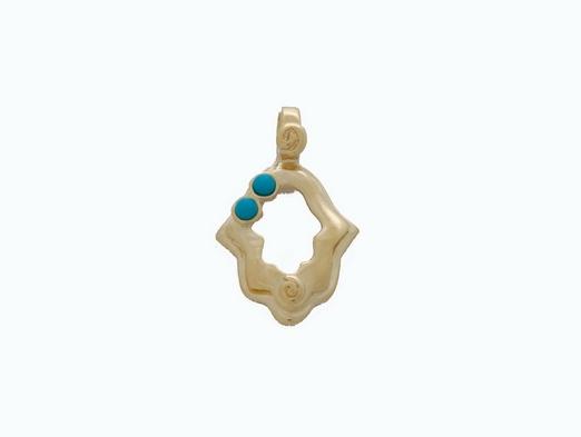 Gold Turquoise Hamsa Pendant