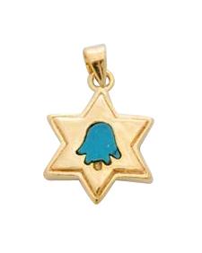Gold Star of David Turquoise Hamsa Pendant