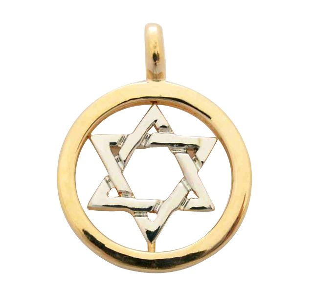 Gold Two tone Circle Star of David Pendant