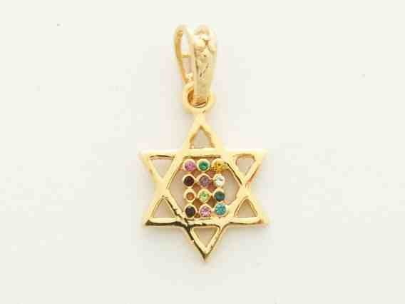 Gold Mini Twelve Tribes Star of David Pendant