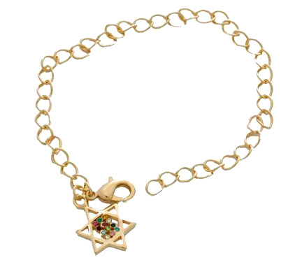Gold Breastplate Star of David Bracelet
