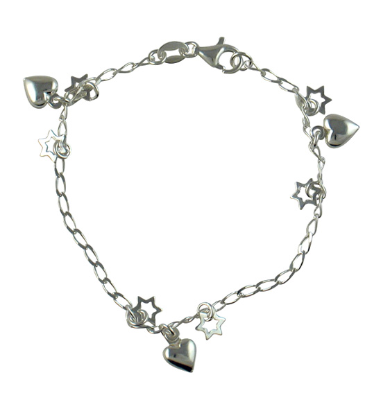 Silver Judaica Charm Bracelet
