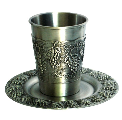 Silver Mezuzot grapes Kiddush Cup and Plate