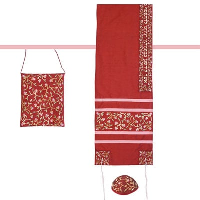Emanuel Embroidered Tallisack – Red/Maroon with flowers