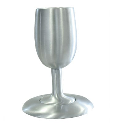 Yair Emanuel Cast Aluminium Silver color Kiddush cup and Plate Set