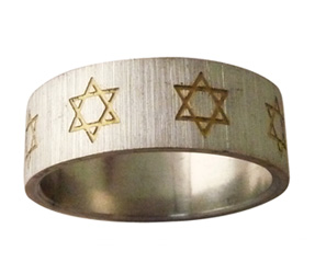 Stainless Steel Ring with Gold Star of David