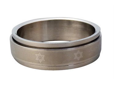 Stainless Steel Revolving Star of David Ring