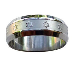 Stainless Steel Star of David Ring