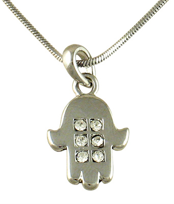 Rhodium Hamsa, Necklaces with white stones