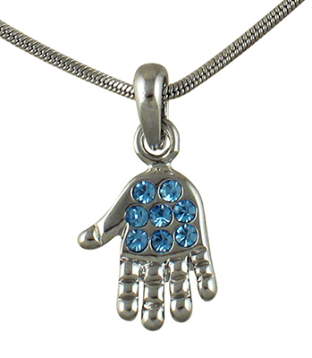 Rhodium Hamsa, Necklaces with blue stones