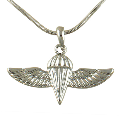 IDF Paratrooper Rhodium Necklace