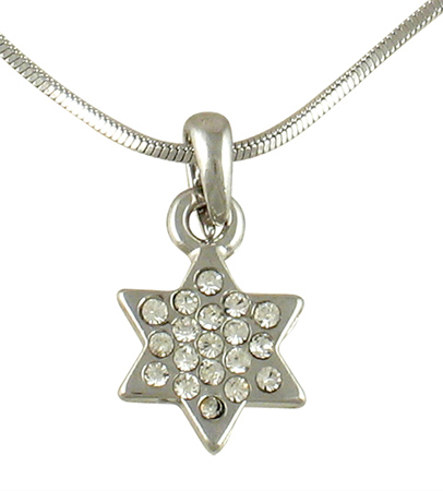 Star of David Rhodium Necklace with white stones