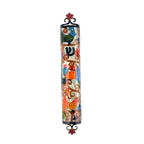 Yair Emanuel Laser Cut Hand Painted Metal Mezuzah - Birds
