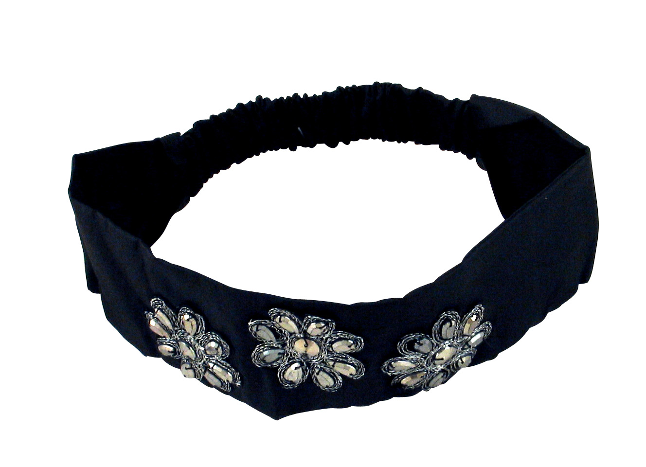 Black Satin Womens Headband with Metallic Beads