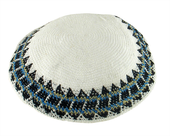 White Knitted Kippah with blue geometric border