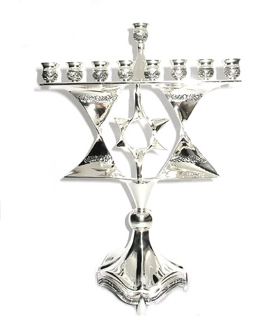 Nickel Magen David Menorah (Hanukia)