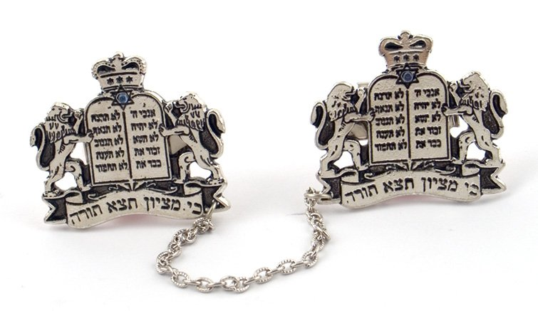 Antique Silver Plated Lions Tallit Clips