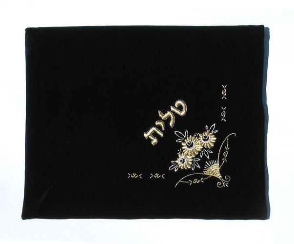 Dark Blue Velvet Tallit & Tefillin Bags Flowers design