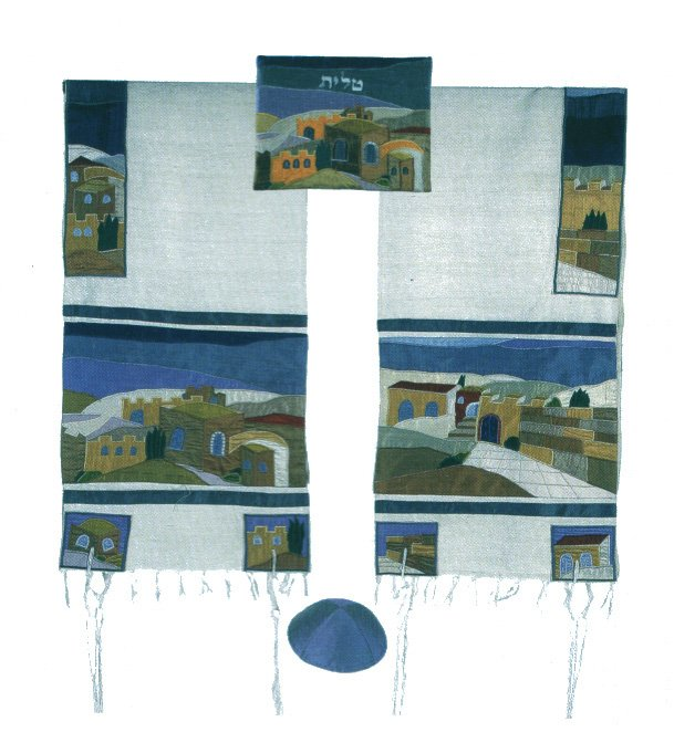 Emanuel Raw Silk Applique'd Tallit - Jerusalem