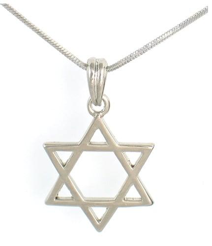 Rhodium Silver Necklace set with Magen David pendant