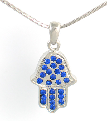 Rhodium Silver Necklace set with blue stones Hamsa pendant