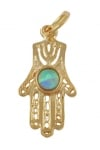Gold Filled Filigree Hamsa Blue Opal Pendant