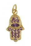 Gold Filled Hamsa Amethyst Pendant