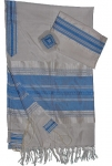 Gabrieli Silk Tallit Set    White and Light Blue