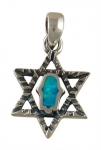 Silver and Opal Hamsa Star of David Pendant